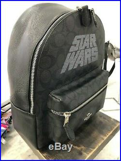 Coach x Star Wars Charlie Backpack In Signature & Leather Black Smoke Silver 428