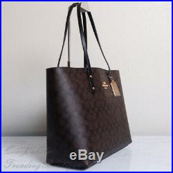 NWT Coach F76636 Town Tote Shoulder Bag in Signature Canvas Brown Black